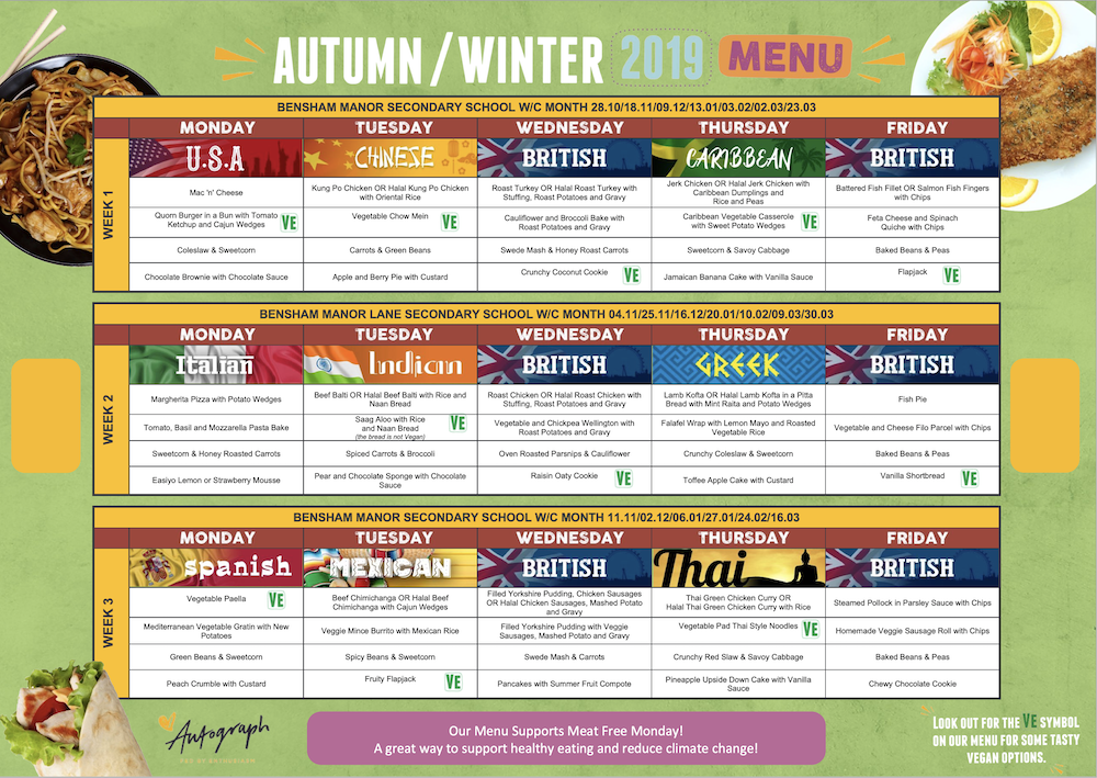 Click the Image to Download a copy of our Autumn/Winter Menu