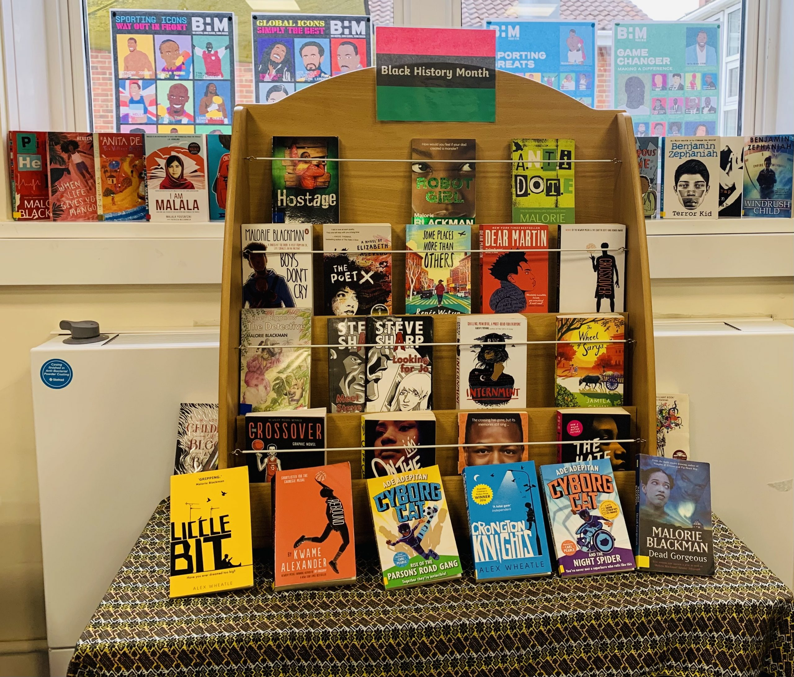 The BHM display in our school library